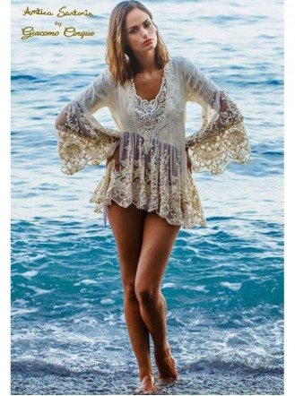 Nude Embellished Long Sleeved Beach Dress (Antica Sartoria)
