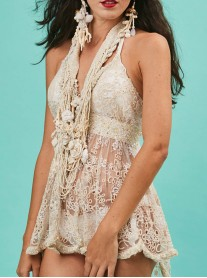 Nude Embellished Short Beach Dress (Antica Sartoria)