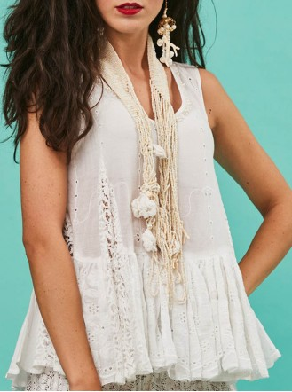 White Embellished Lace Top (Antica Sartoria)