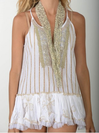 Gold Embellished Lace Top - Antica Sartoria