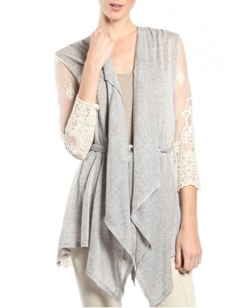 Grey Lace Cardigan - A'reve