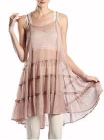 Taupe Chiffon Dress - A'reve
