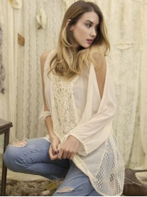 Beige Lace Sleeved Tunic - A'reve