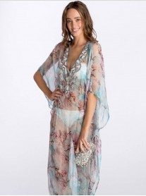 Multi Beaded Long Kaftan