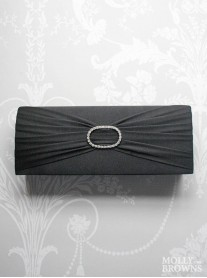 Crystal Ribboned Clutch Bag (Black)