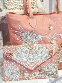 Blush & Gold Embellished Clutch Bag