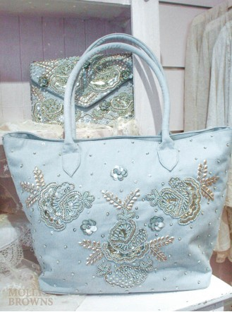 Mint & Gold Embellished Tote Bag