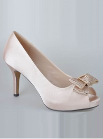 Poppy Crystal Bow Heels - Nude
