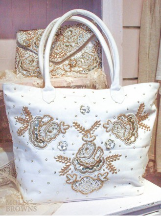 White & Gold Embellished Tote Bag