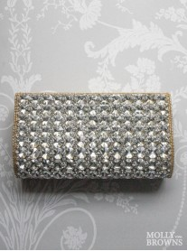 Nude Crystal Clutch Bag
