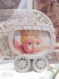 Silver Diamante Pram Photo Frame