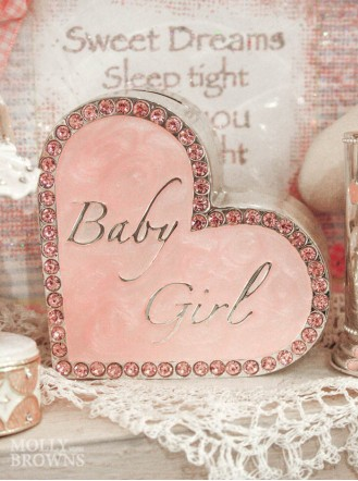 Baby Girl Heart Money Bank
