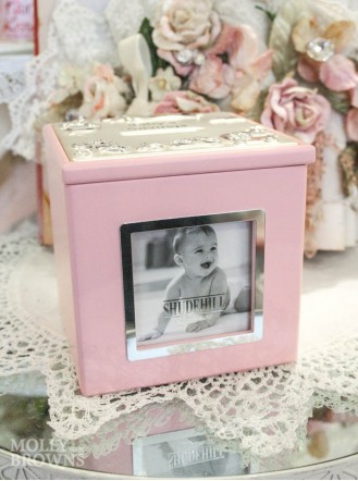 Baby's Savings Pink Cube Money Box