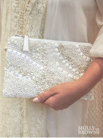 Bead & Sequin Embellished White Clutch Bag