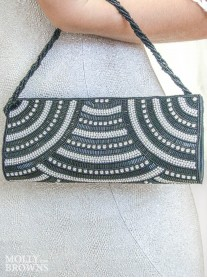Black & White Crystal Clutch Bag