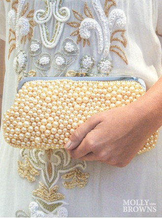 Champagne Pearl Clutch Bag With Diamante Clasp