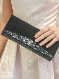 Gemma Crystal Glitter Clutch Bag - Black