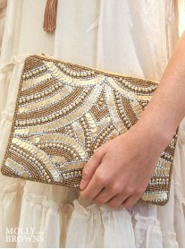 Gold Sequin & Beaded Clutch Bag