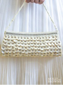 Long Cream Shell & Crystal Clutch Bag