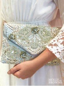 Mint & Gold Embellished Clutch Bag