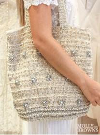 Pearl & Diamante Embellished Straw Weave Tote Bag