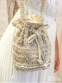 Pearl & Diamante Embellished Straw Weave Handbag - Small