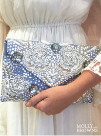 Periwinkle & Silver Embellished Clutch Bag