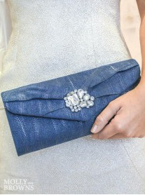 Royal Blue Crystal Embellished Clutch Bag