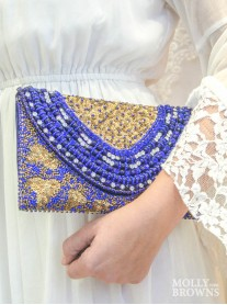 Royal Blue Gold Embellished Beaded Clutch Bag