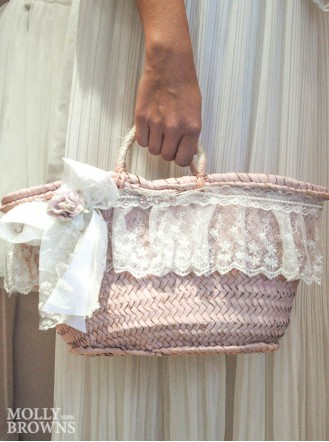 Shabby Chic Pink Straw Handbag - White Lace
