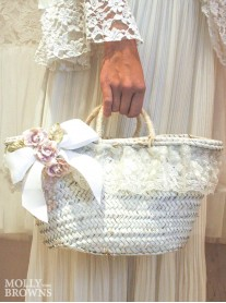 Shabby Chic White Straw Handbag - Medium