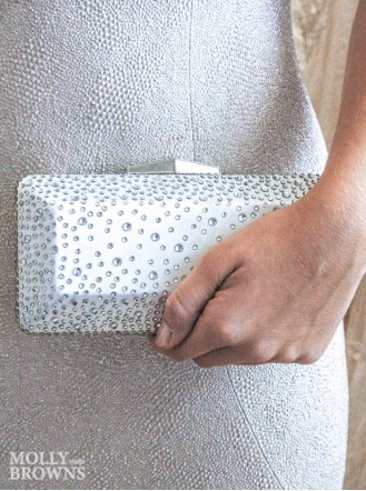 Silver Jewelled Clutch Bag