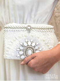 White Beaded Embellished Clutch Bag