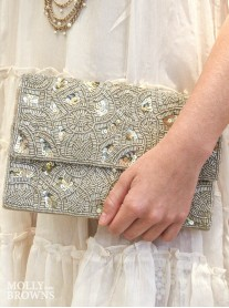 White Sequin & Beaded Clutch Bag
