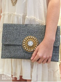 Black & Gold Straw Clutch Bag