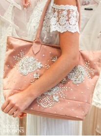 Blush & Gold Embellished Tote Bag