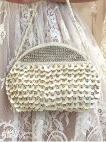 Cream Shell & Crystal Clutch Bag - Large