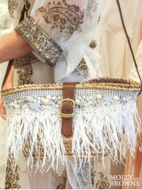 Diamante & Pearl Embellished Feathered Straw Handbag
