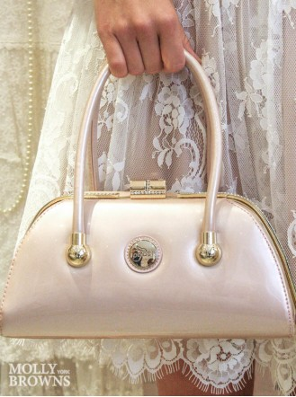 Lucy Nude Patent Handbag - Peach Accessories