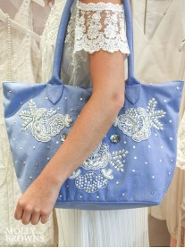 Periwinkle & Silver Embellished Tote Bag