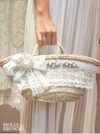 Shabby Chic Straw Handbag - White Lace
