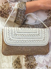 White Crystal Embellished Clutch Bag