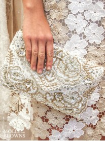 White & Gold Embellished Clutch Bag