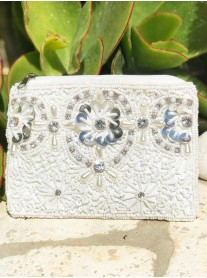 3D Flower Embellished Purse (White & Silver)