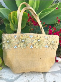3D Flower Embellished Canvas Tote Bag