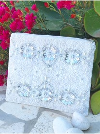 3D Flower Sequin Clutch Bag (White & Silver)