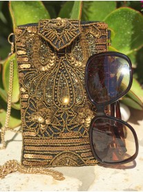 Embellished Glasses/Phone Case (Black & Gold)