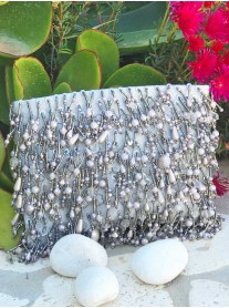 Tassel Beaded Clutch Bag (Grey Pearl)