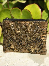 Embellished Sequin Purse (Black & Gold)