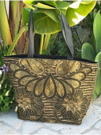 Black and Gold Embellished Shoulder Bag